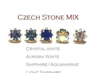 【70個MIX】チェコ産3mmストーンブルー系5色混ぜ!ゴールド台座付きビーズパーツ レジンの画像