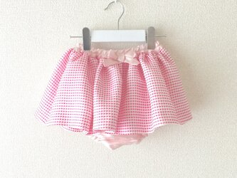 ピンクが素敵♡ファンシーツイードのブルマ付きスカートの画像