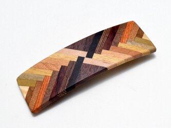 【寄木】手作り木製バレッタ(大) クロムメッキ金具の画像