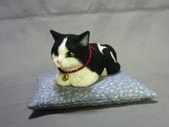 黒白猫さん 香箱座り 座布団付の画像