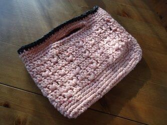 ピンクツイードのお出かけバッグの画像