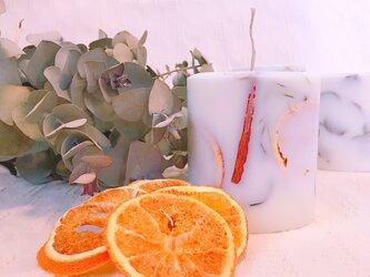 soycandle*ボタニカルキャンドル*アロマキャンドル*ドライフラワー*オレンジ*シナモンスティック*ユーカリ*の画像