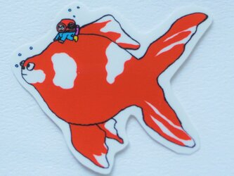金魚 ステッカー シール イラストの画像