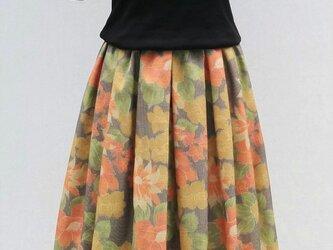 着物リメイク:紬のタックスカートの画像