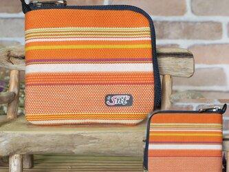 【薄い財布】倉敷帆布 カード・お札・小銭一括収納 二つ折り財布 オレンジ系生地 紺ファスナーの画像