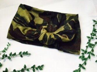 ネッククーラー 迷彩グリーン柄 ダブルガーゼの画像