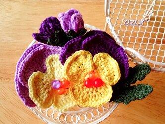 パンジーのコサージュ・紫+黄色の画像
