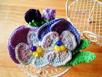 パンジーのコサージュ・ブルー系+淡い紫の画像