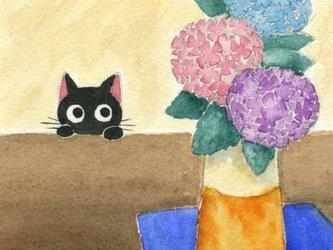 0402「あじさいと黒猫」水彩画 原画の画像