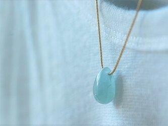 ミルキーアクアマリンの一粒ネックレス(ショートG)の画像