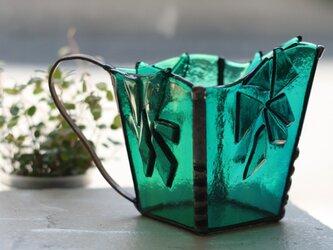 マグカップ型フラワーベース*ステンドグラス(ブルー)の画像