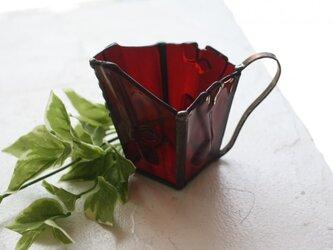 マグカップ型フラワーベース*ステンドグラス(ワインレッド)の画像