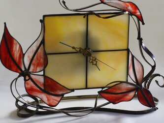 置時計 アールヌーボー リーフ*ステンドグラス*Lightslaboの画像