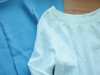 w様オーダー商品/スモックブラウス(Sサイズ/七分袖)/リネン(ヒヤシンス)の画像