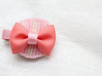 ラウンド雫のフレンチりぼんクリップ*ピンク*の画像