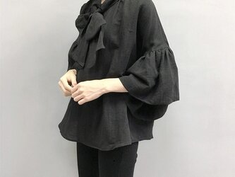 en-en ●黒 リネン 前リボンギャザー袖プルオーバー・黒★生地変更の画像