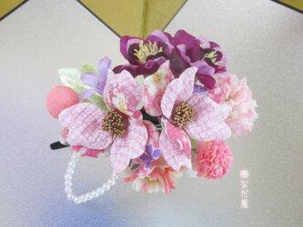 七五三 成人式 和装髪飾り 椿 ちりめん花 ピンク紫 振袖 着物 ヘアクリップ 一点物の画像