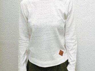 トロフィル天竺 レザーパッチ付 ラグランスリーブ カット&ソー[Sサイズ]オフホワイトの画像