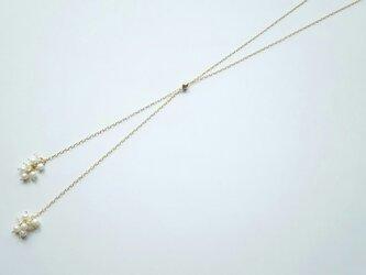 淡水パ-ル&レインボーム-ンスト-ンのスライドボ-ル付ネックレスの画像