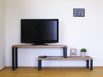 *パワーが* 天然杉の古材板と鉄脚で作ったスライド式テレビボード *段チなんだよ*の画像
