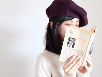 再販・ベレー帽 - グレープ・ふっくらコットンウール - <受注制作> 特集掲載の画像