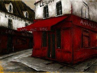 風景画 パリ 油絵「モンマルトルの赤いカフェ」の画像