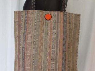 縞柄名古屋帯からぺったんこトート 絹の画像