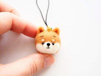 まゆ柴犬 携帯クリーナーストラップ※受注製作 羊毛フェルト(アクレーヌ製)の画像