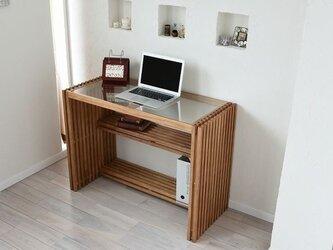 Resort Wood Glass Desk 84cm Brownの画像