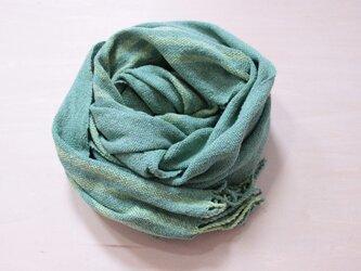 手織り 春夏 グリーンストール シルク素材 の画像