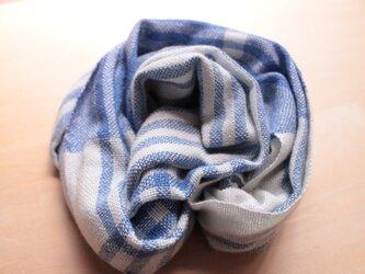 シルクカシミヤ  手織り ストール ホワイト×ブルーの画像