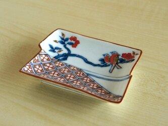 染錦地紋鳥文 角型手塩皿の画像