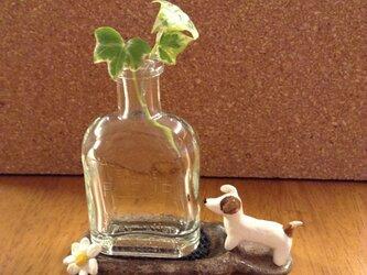 イヌ台座のミニ花瓶(角花瓶)の画像