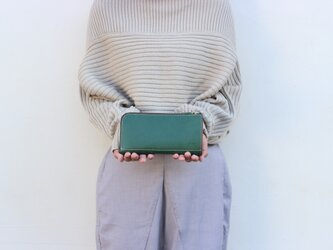 姫路産ヌメシュリンクレザー L字ファスナー長財布 牛革 グリーン 緑【送料無料】aw-05nsの画像