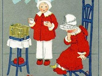 ドイツ製 ポストカード【黄色い小鳥と子供たち】DA-PCD001の画像