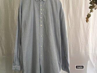 ワイドシャツブラウス STRIPE オックスフォード #ブルー・オフホワイト ノーストレスなシルエットの画像