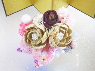 七五三 成人式  水引花髪飾り 和装 着物ヘアアクセサリー振袖 ベージュピンク系 かんざしの画像