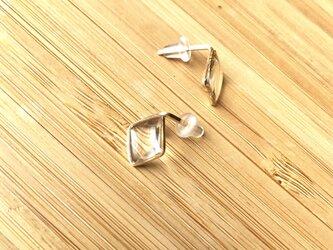 四角×clearピアス【14KGF】の画像
