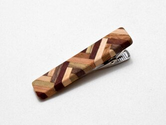 [再出品]【寄木】手作り木製タイピン クロム金具の画像
