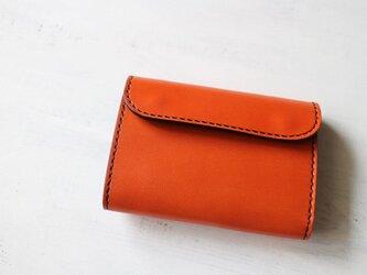 【受注生産品】三つ折り財布 ~栃木アニリン橙×栃木ブラックサドル~の画像