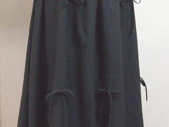 リボン大好きギャザーフレアースカート(黒×グレイ)の画像