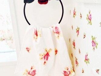 【受注製作】アイアン 薔薇のタオルリング バラモチーフフックキッチンタオル掛けふきんガーデニングの画像