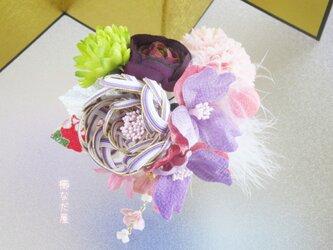 七五三 成人式  水引花髪飾り 和装 着物ヘアアクセサリー振袖 紫系 袴の画像