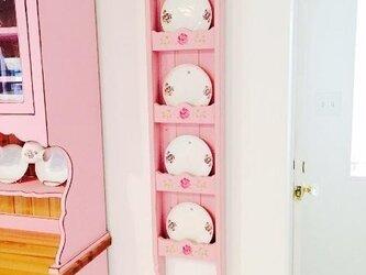 【受注製作】薔薇ステンシル 木製ディッシュラック ローズプレートホルダースタンドキッチンカントリーの画像