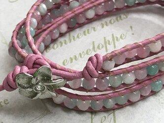 春色ラップブレスレット(ピンク&グリーンジェード)の画像