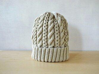 若葉色コットンウールのニット帽の画像