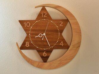 【受注制作天然檜の大きな三日月に一番星が輝く大きな木の掛け時計【クオーツ時計】の画像