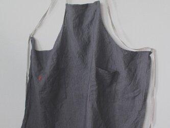 リトアニアリネン100% 男女兼用フルエプロン チャコール/肩紐バッククロスの画像