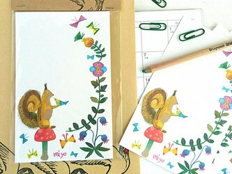 【NEW】一筆箋 / リスと小鳥とキノコの画像
