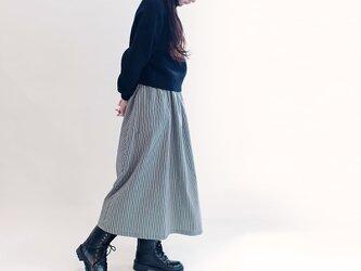 年間OK!岡山デニム ストライプ 黒×オフホワイト ロングスカート ヒッコリー ブラック 白 ジーンズ ●LILIE●の画像